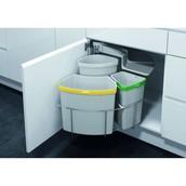 Распашная система сортировки VS ENVI Center (Экоцентр), ширина корпуса 500-600 мм, три ведра, 1*12л, 18л, 9л