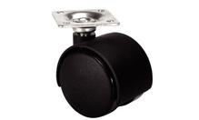 Ролик поворотный двойной с пластиной 42х42мм, D50мм, черный