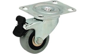Резиновый ролик 60кг D75 мм, поворотный с фиксацией