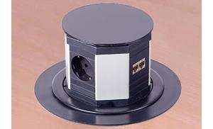 Выдвижной блок 3 розетки + 2 разъема RJ45 с кабелем 2м, пластик черный